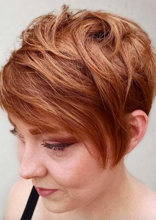 Haircuts & Hairstyles for Women Over 50: Warm Red Pixie