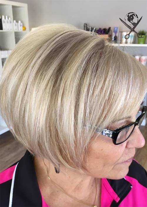 Haircuts & Hairstyles for Women Over 50: Platinum with Grey Bob