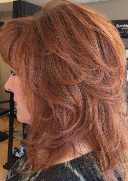 Haircuts & Hairstyles for Women Over 50: Red Spring Layers