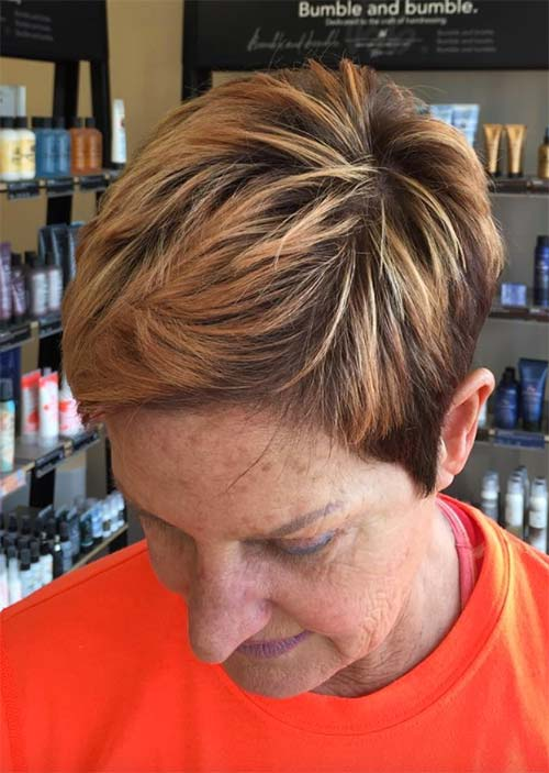 Haircuts & Hairstyles for Women Over 50: Rose Gold Pixie
