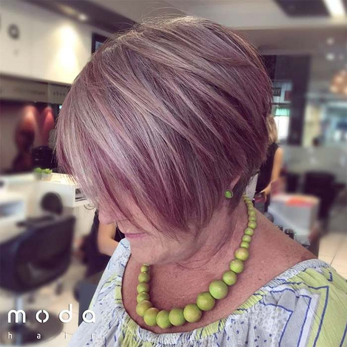 Haircuts & Hairstyles for Women Over 50: Blushing Pink Bob