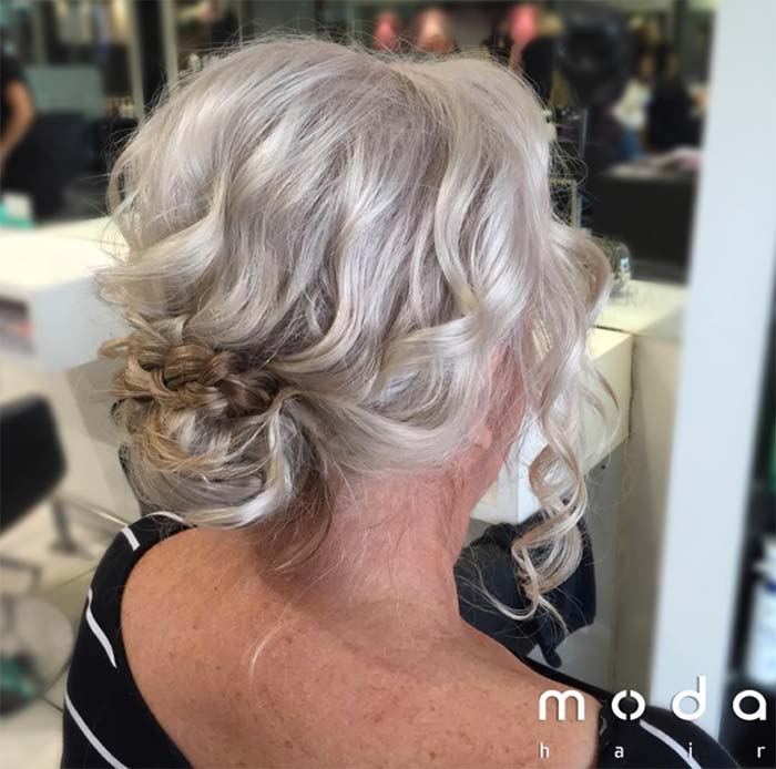 Haircuts & Hairstyles for Women Over 50: Textured Blonde Bun