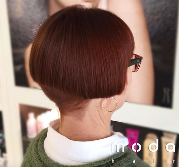 Haircuts & Hairstyles for Women Over 50: Dark Red Bowl Cut