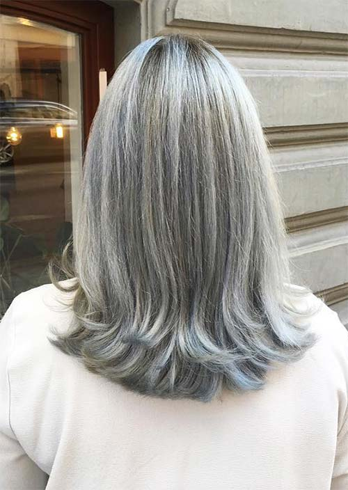 Haircuts & Hairstyles for Women Over 50: Long Grey Balayage