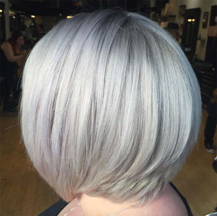 Haircuts & Hairstyles for Women Over 50: Silvery Blonde Cut