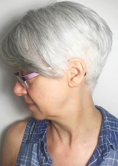 Haircuts & Hairstyles for Women Over 50: Silver to White Short Haircut