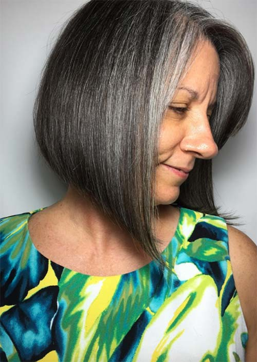 Haircuts & Hairstyles for Women Over 50: Angled Grey Cut