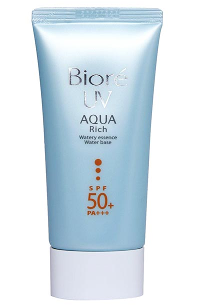 Best Face Sunscreens For Oily and Combination Skin: Biore UV Aqua Rich Watery Essence Sunscreen SPF 50 PA+++