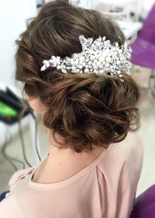 53 swanky wedding updos for every bride to be glowsly bridal wedding updos hairstyles full chignon with side twist junglespirit Choice Image