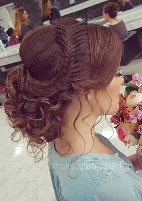 Bridal/ Wedding Updos Hairstyles: Weaved Crown Braid Updo
