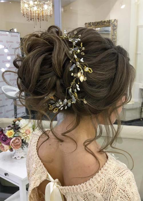 Bridal/ Wedding Updos Hairstyles: Woven High Bun with Loose Curls