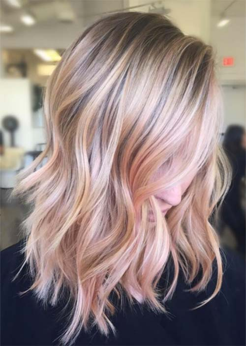 Balayage Hair Trend: Balayage Hair Colors & Balayage Highlights: Rose Gold Balayage