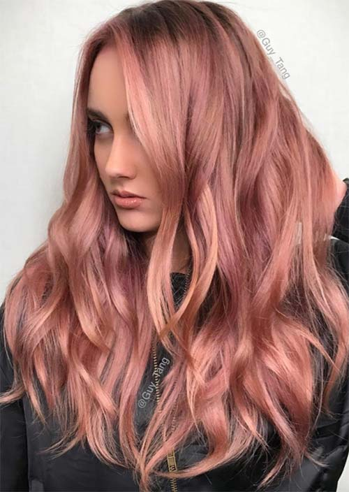 Balayage Hair Trend: Balayage Hair Colors & Balayage Highlights: Pink and Gold Balayage