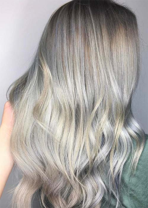 Balayage Hair Trend: Balayage Hair Colors & Balayage Highlights: Silver and Blonde Balayage