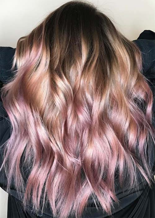Balayage Hair Trend: Balayage Hair Colors & Balayage Highlights: Coral and Pink Unicorn Balayage