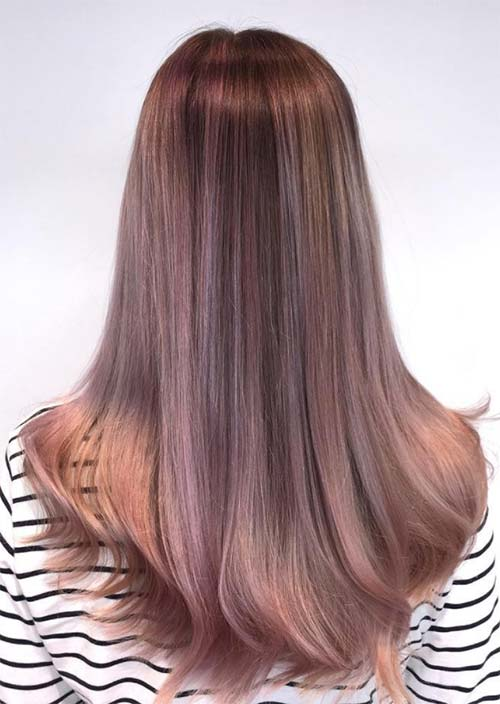 Balayage Hair Trend: Balayage Hair Colors & Balayage Highlights: Lavender and Peach Smoke Balayage