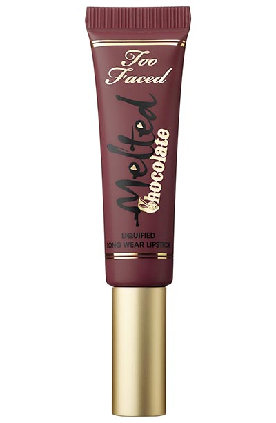 Best Red Lipsticks for Dark Skin Tones: Too Faced Melted Chocolate Liquified Longwear Lipstick in Chocolate Cherries