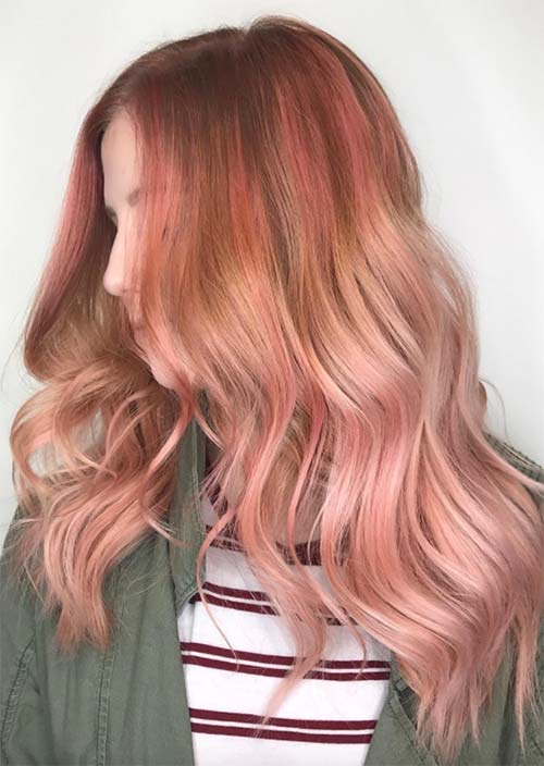Peach Hair Orange Rose Gold Medium Hairstyles