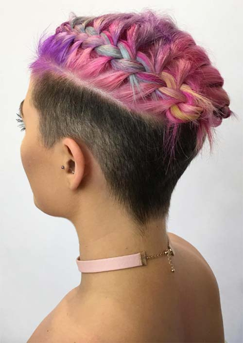 Updos for Short Hair Ideas: Shaved Sides Dutch Braided Short Hair Updo