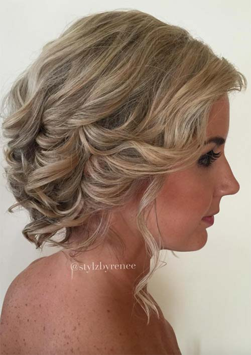 Updos for Short Hair Ideas: Curled Short Hair Updo