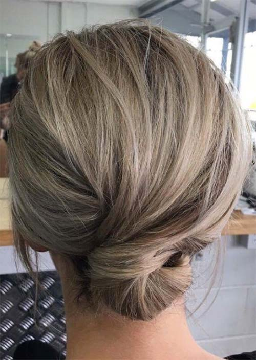 Updos for Short Hair Ideas: Nape Knot Short Hair Updo