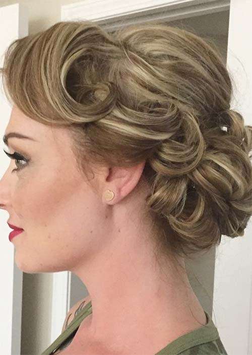 Updos for Short Hair Ideas: Pinned Curled Short Hair Updo