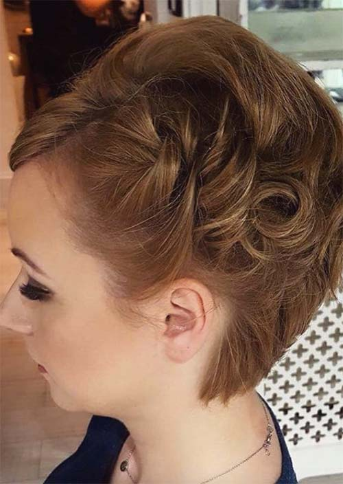 Updos for Short Hair Ideas: Side Pinned Short Hair Updo