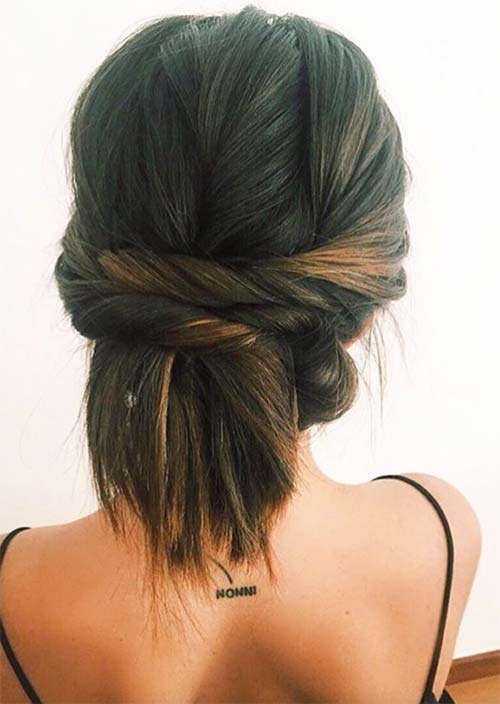 Updos for Short Hair Ideas: Twisted Short Hair Updo