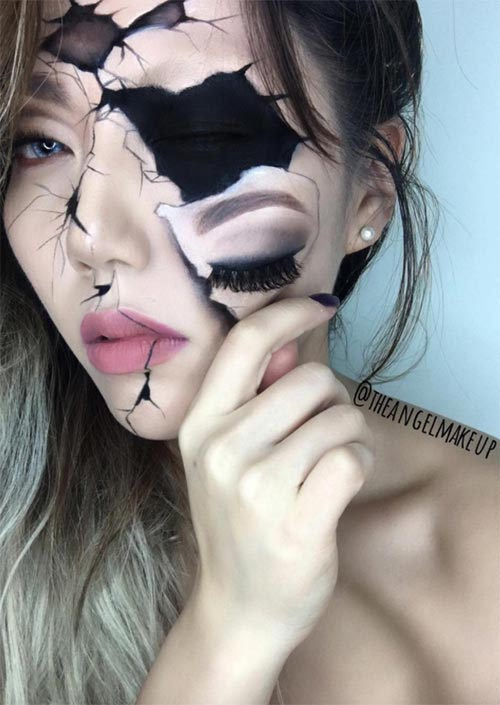 Halloween Makeup Ideas: Broken Face Makeup for Halloween