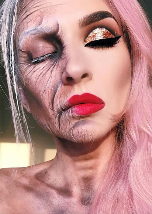 Halloween Makeup Ideas: Aging Woman Makeup for Halloween