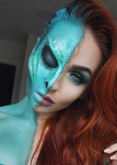 Halloween Makeup Ideas: Half Alien Makeup for Halloween