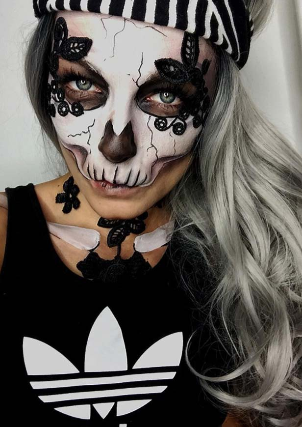 Halloween Makeup Ideas: Half Skull Makeup for Halloween