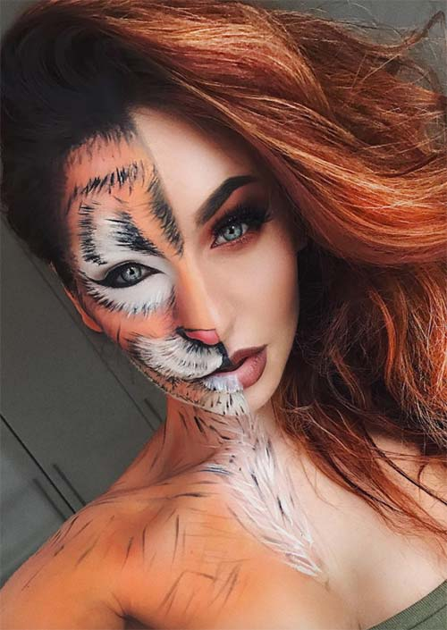 Halloween Makeup Ideas: Half Tigress Makeup for Halloween