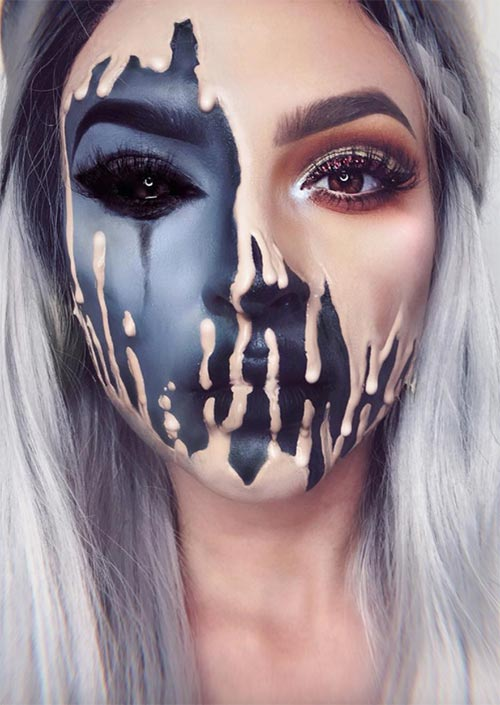 51 Creepy And Cool Halloween Makeup Ideas To Try In 2019 Glowsly - Halloween-face-makeup
