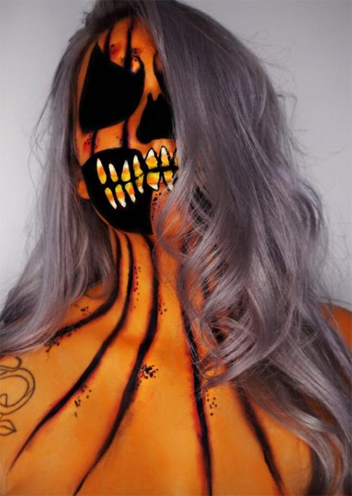 Halloween Makeup Ideas: Pumpkin Terror Makeup for Halloween