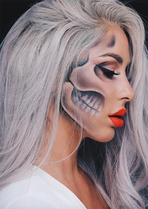 Halloween Makeup Ideas: Skeleton Profile Makeup for Halloween