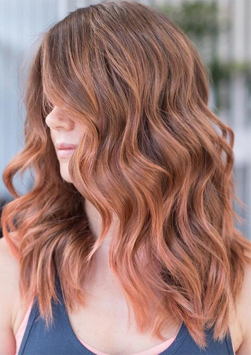 Autumn/ Fall Hair Colors, Ideas and Trends: Burnt Peach Balayage Hair