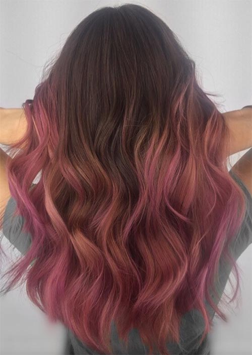 Autumn/ Fall Hair Colors, Ideas and Trends: Chocolate Pink Balayage Hair