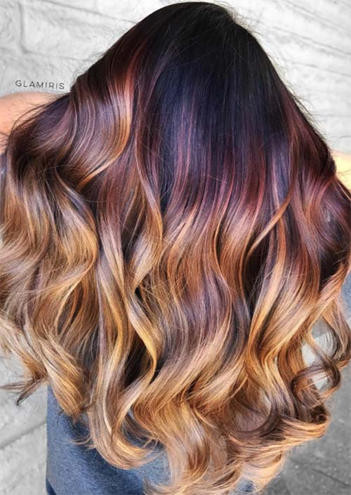 Autumn/ Fall Hair Colors, Ideas and Trends: Fall Leaves Balayage Hair