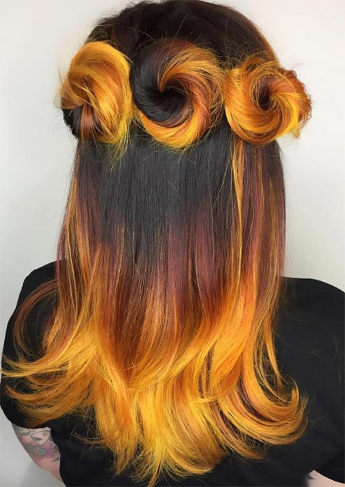 Autumn/ Fall Hair Colors, Ideas and Trends: Fire Yellow Red Hair