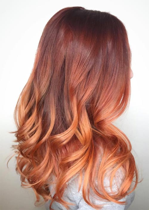 Autumn/ Fall Hair Colors, Ideas and Trends: Gradient Copper Hair