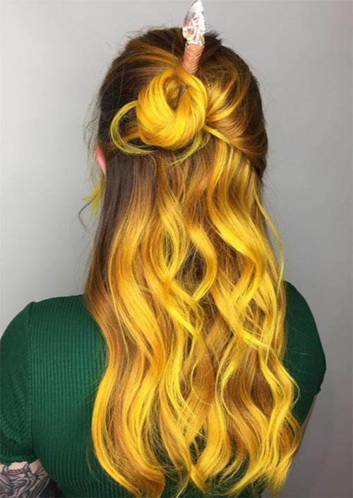 Autumn/ Fall Hair Colors, Ideas and Trends: Neon Yellow Fire Hair