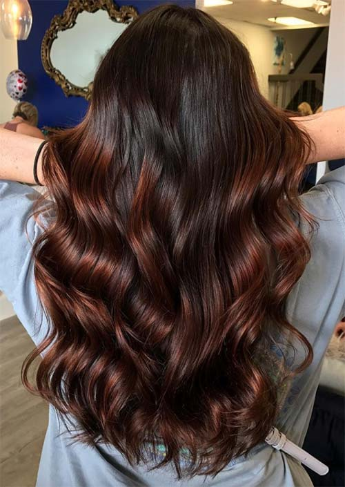 Autumn/ Fall Hair Colors, Ideas and Trends: Red Brown Balayage Hair