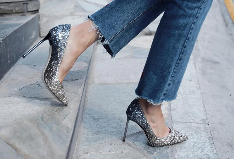 How to Wear Sparkly/ Glitter Heels Shoes