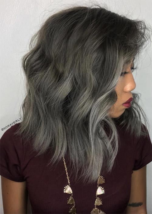 Winter Hair Colors Ideas & Trends: Ash Grey Hair
