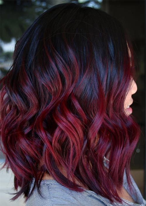 Winter Hair Colors Ideas & Trends: Burgundy Hair