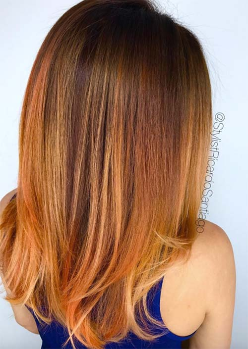 Winter Hair Colors Ideas & Trends: Burnt Orange Hair