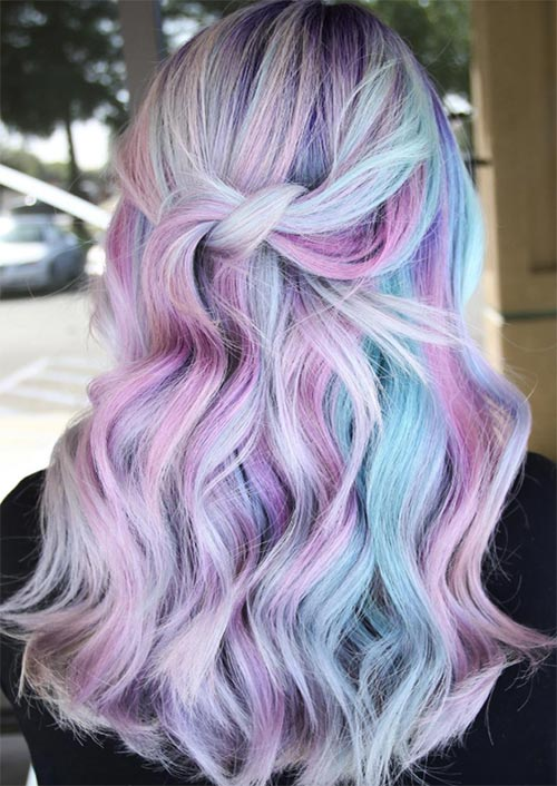 Winter Hair Colors Ideas & Trends: Candy Blue & Purple Hair