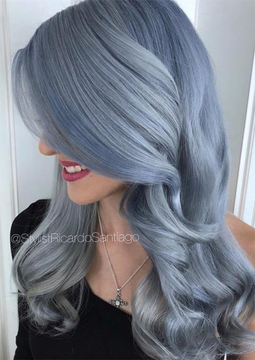 Winter Hair Colors Ideas & Trends: Cloud Blue Hair