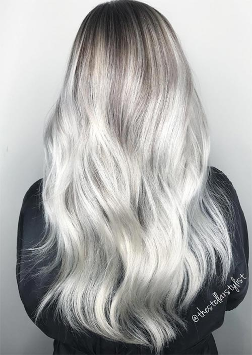 Winter Hair Colors Ideas & Trends: Ice White Hair